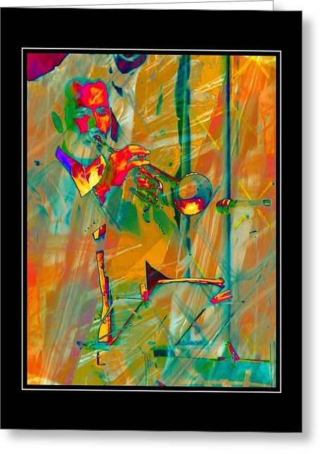 Trumpet Player With Black Border Greeting Card by Dorothy Berry-Lound
