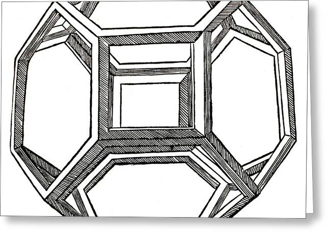 Truncated Octahedron With Open Faces Greeting Card by Leonardo Da Vinci