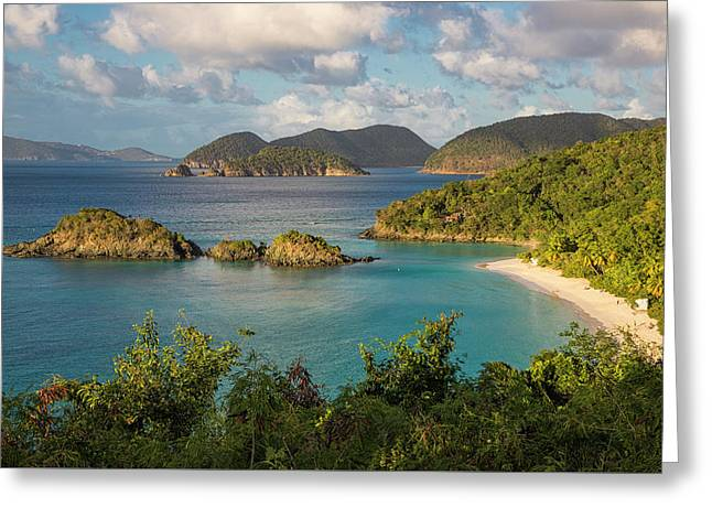 Trunk Bay Morning Greeting Card by Adam Romanowicz