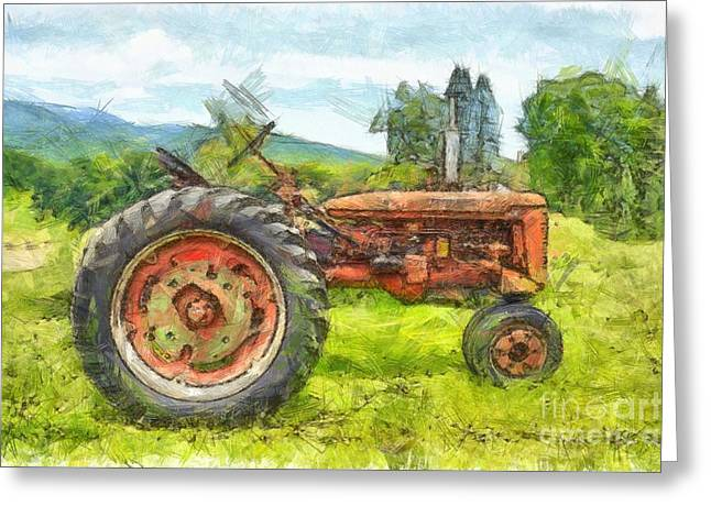 Trusty Old Red Tractor Pencil Greeting Card