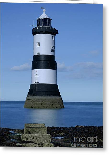 Trwyn Du Lighthouse Greeting Card by Steev Stamford