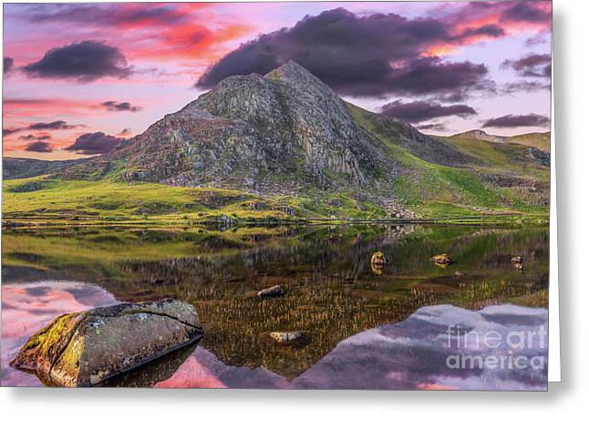 Greeting Card featuring the photograph Tryfan Mountain Sunset by Adrian Evans