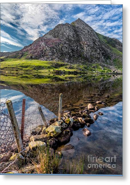 Tryfan Reflections Greeting Card by Adrian Evans