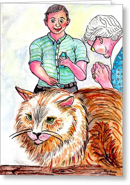 Trying To Give Grandmas Cat Her Medicine Greeting Card