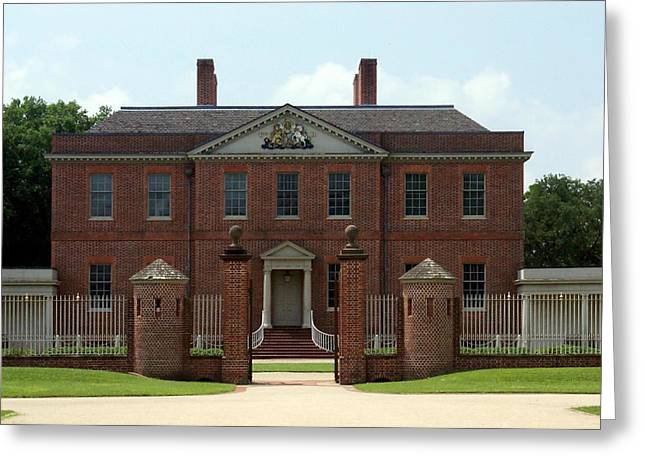 Tryon Palace Front With Gaurd Posts Greeting Card by Rodger Whitney