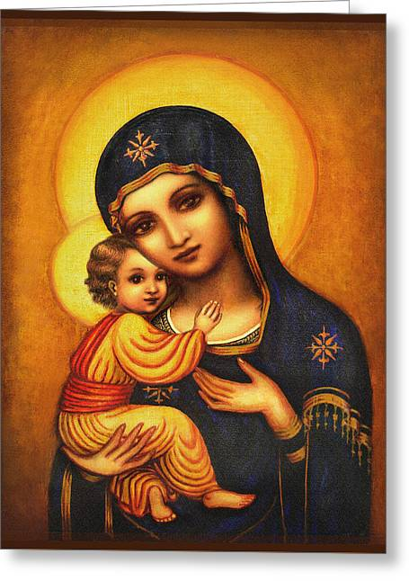 Tryptichon Madonna Greeting Card by Ananda Vdovic