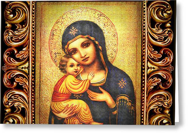 Tryptichon Madonna With Frame Greeting Card by Ananda Vdovic
