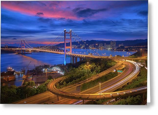 Tsing-ma Bridge  Greeting Card by Anek Suwannaphoom