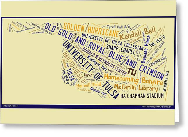 Tu Word Art University Of Tulsa Greeting Card by Roberta Peake