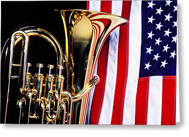 Tuba And American Flag Greeting Card by Garry Gay