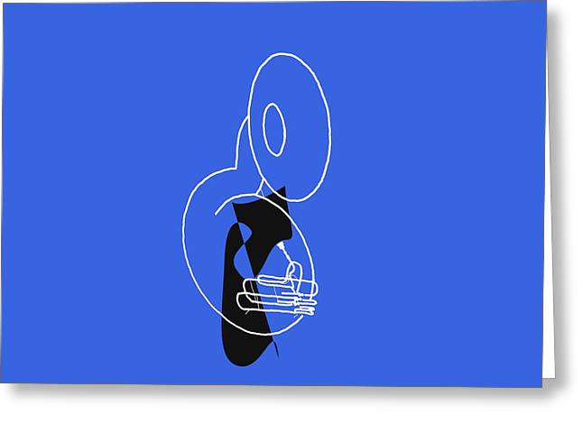 Tuba In Blue Greeting Card