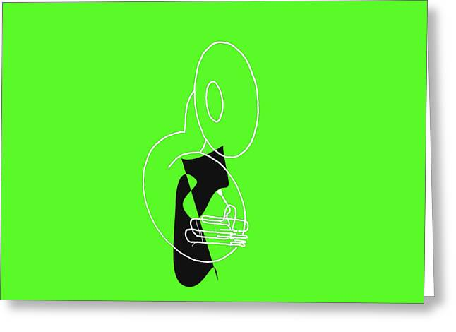 Tuba In Green Greeting Card