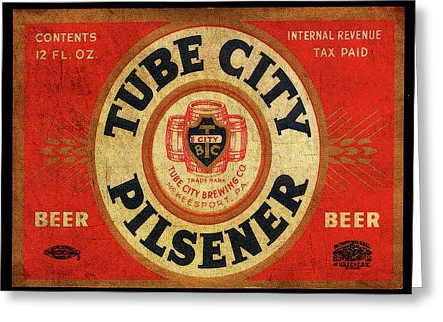 Greeting Card featuring the digital art Tube City Pilsner by Greg Sharpe