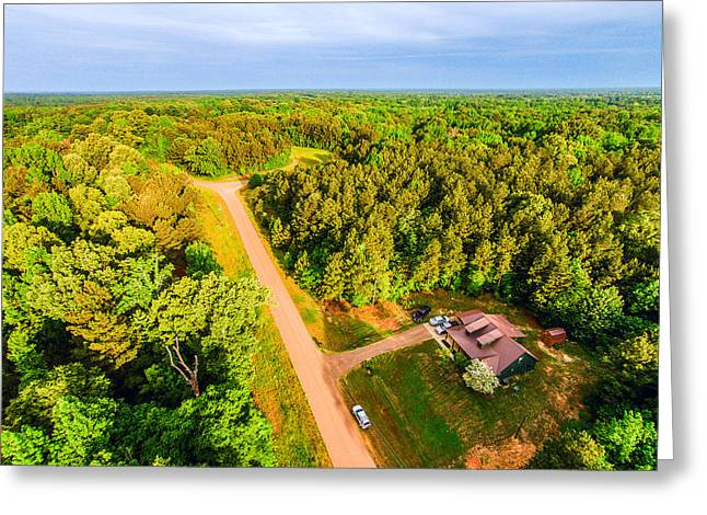 Tucked Away 2 - Aerial Rural Landscape Greeting Card by Barry Jones