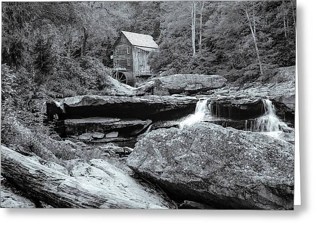 Tucked Away - Black And White Old Mill Photography Greeting Card by Gregory Ballos