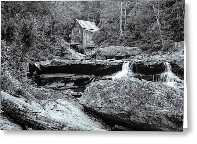 Tucked Away - Black And White Old Mill Photography Greeting Card