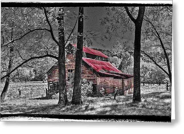 Red Roofed Barn Greeting Cards - Tucked In Greeting Card by Debra and Dave Vanderlaan