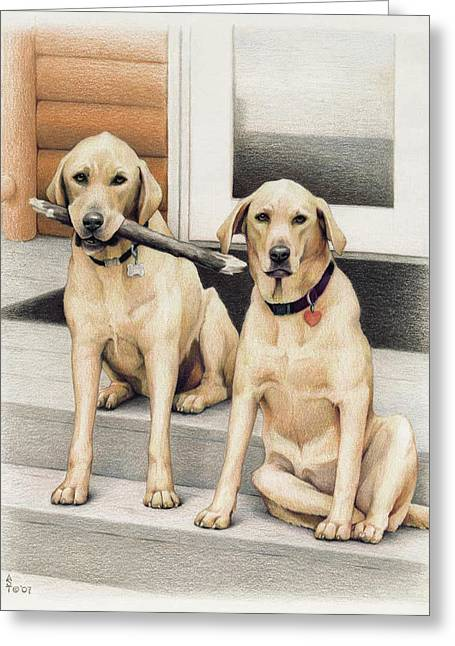 Tucker And Lily Greeting Card by Amy S Turner