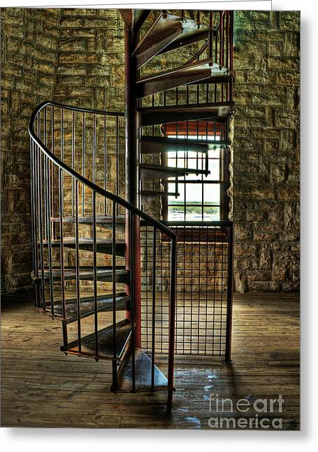 Greeting Card featuring the photograph Tucker's Tower Spiral Staircase by Tamyra Ayles
