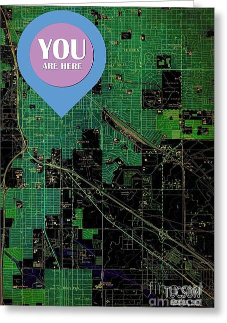 Tucson Arizona 1957 Vintage Green Map You Are Here Greeting Card by Pablo Franchi