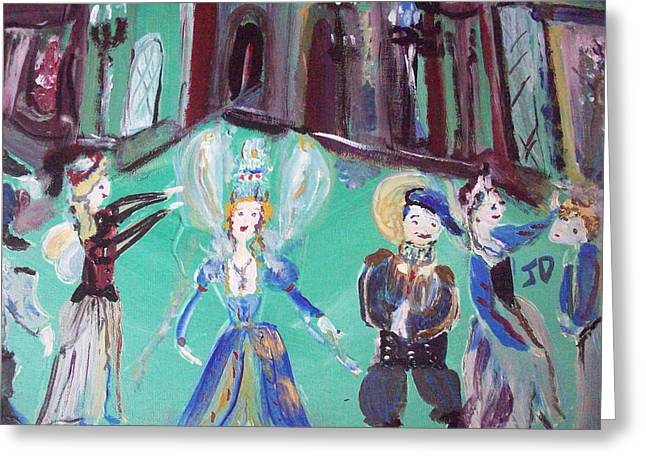 Greeting Card featuring the painting Tudor Fairies by Judith Desrosiers