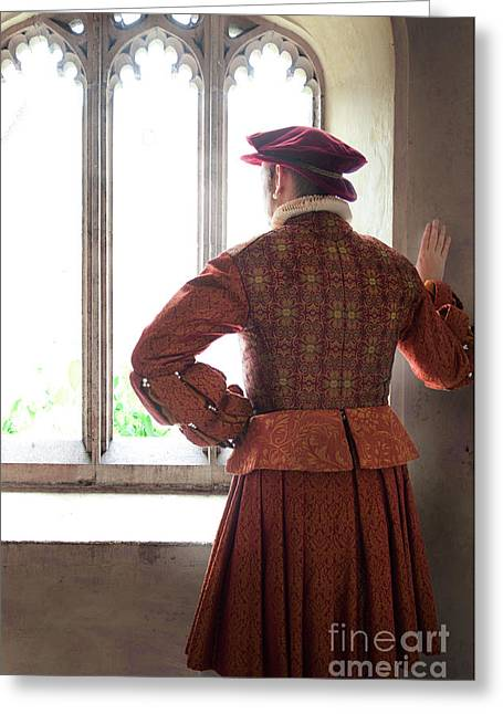 Tudor Man At The Window Greeting Card