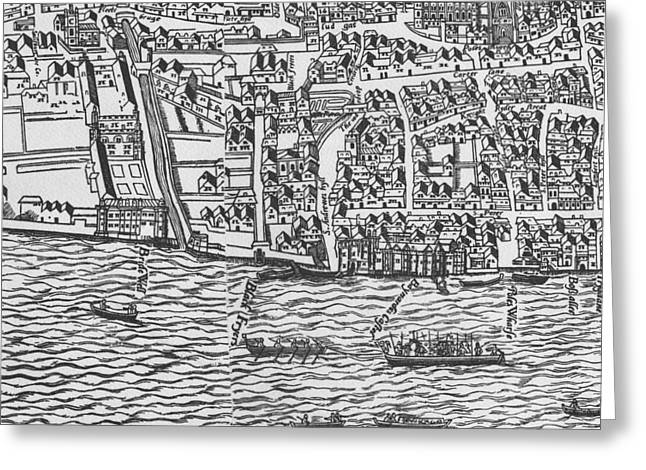 Tudor Map Showing Detail Of The River Thames Greeting Card by Ralph Agas