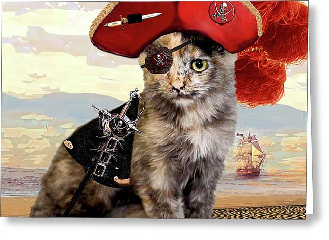 Teuti The Pirate - Cats In Hats Series Greeting Card by Michele Avanti