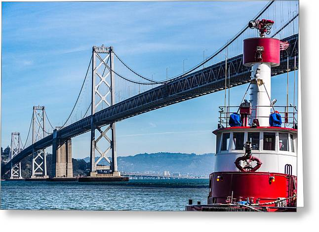 Tug Boat By The Bay Bridge Greeting Card