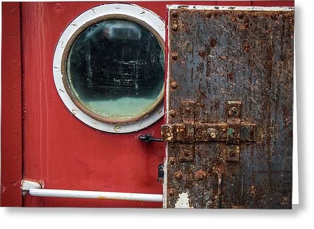Tug Boat Porthole Greeting Card by Paul Freidlund