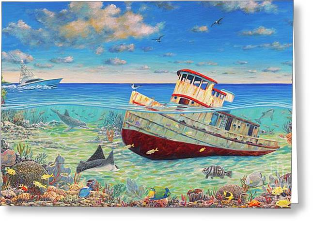 Tug Boat Reef 2 Greeting Card by Danielle Perry