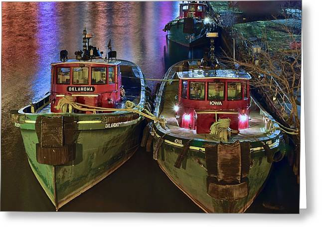 Tug Boats At Night Greeting Card by Frozen in Time Fine Art Photography