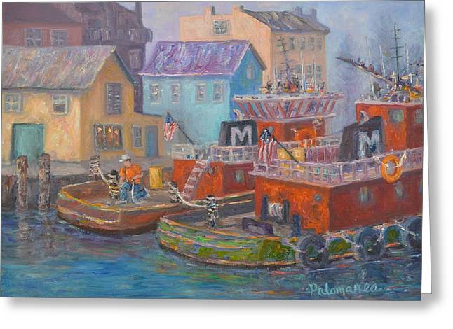 Tug Boats Portsmouth Maritime Painting Greeting Card