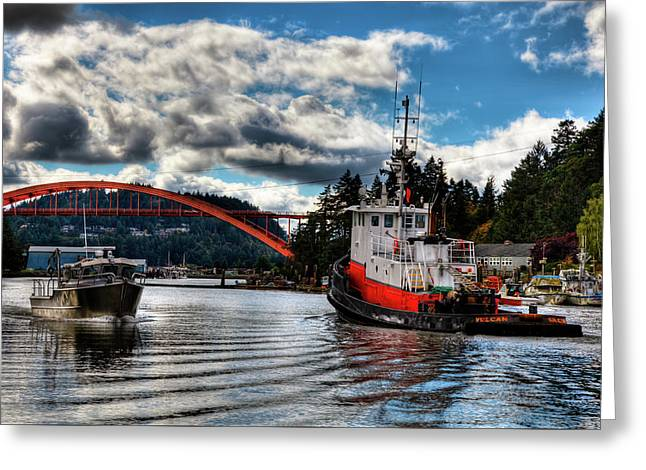 Tugboat At The Rainbow Bridge Greeting Card by David Patterson