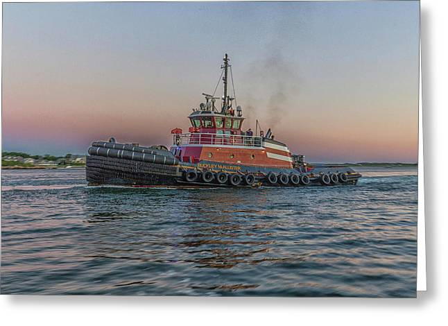 Tugboat Buckley Mcallister At Sunset Greeting Card