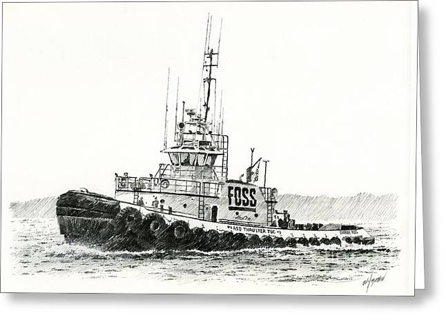 Tugboat Daniel Foss Heading Out Greeting Card
