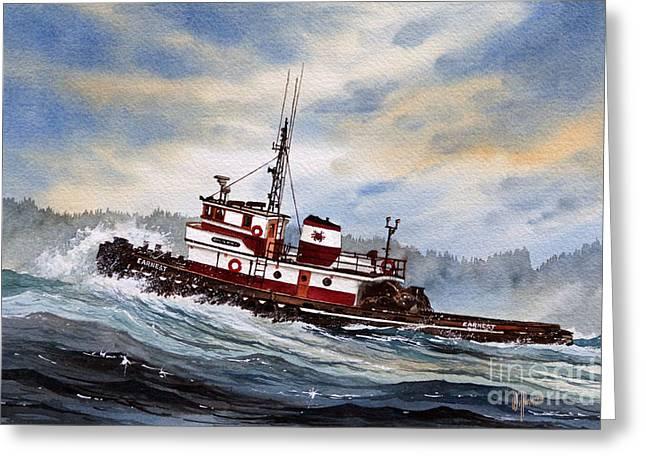 Tugboat Earnest Greeting Card