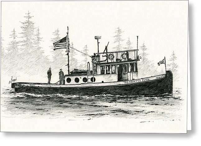Tugboat Henrietta Foss Greeting Card