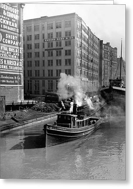 Tugboat In Chicago Greeting Card by Underwood Archives