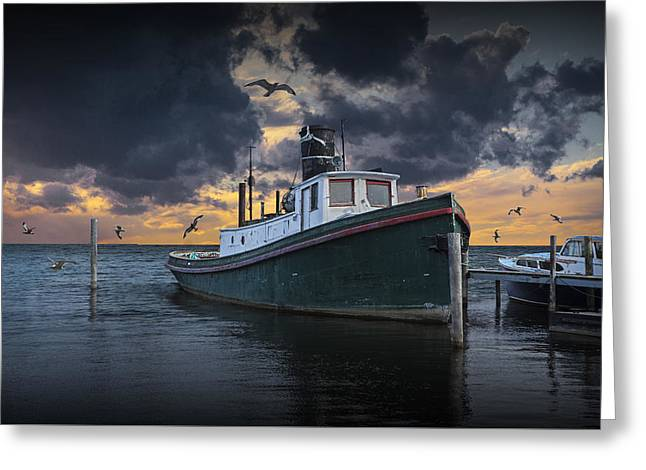 Tugboat In The Harbor With Flying Gulls Greeting Card