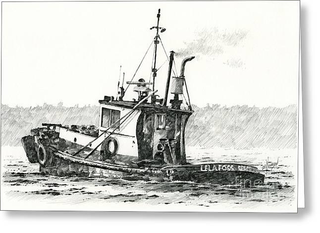 Tugboat Lela Foss Greeting Card by James Williamson