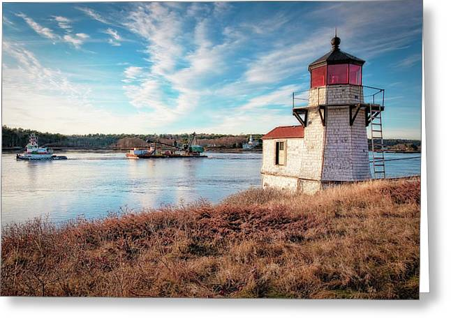 Tugboat, Squirrel Point Lighthouse Greeting Card
