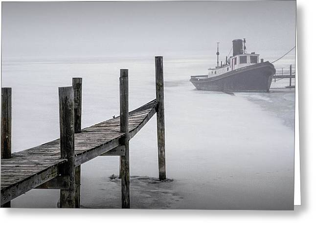 Tugboat Stuck In The Winter Ice Greeting Card by Randall Nyhof