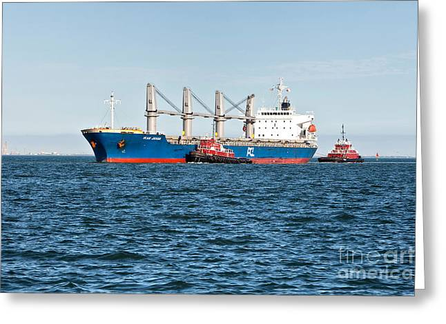 Tugboats And Oil Tanker Greeting Card