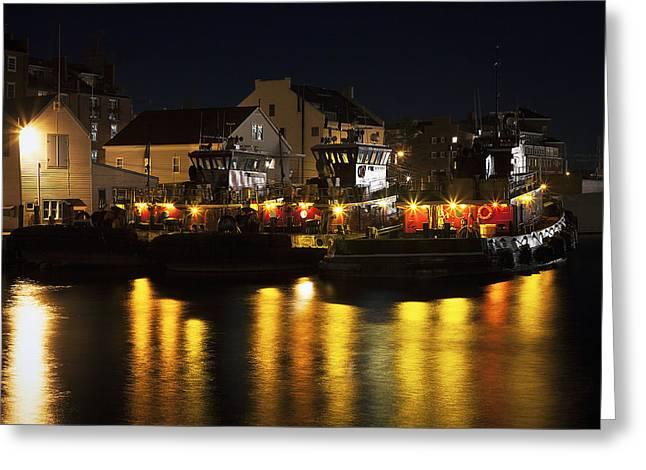 Tugboats At Night Greeting Card