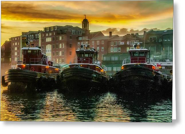 Tugboats In Portsmouth Harbor At Dawn Greeting Card