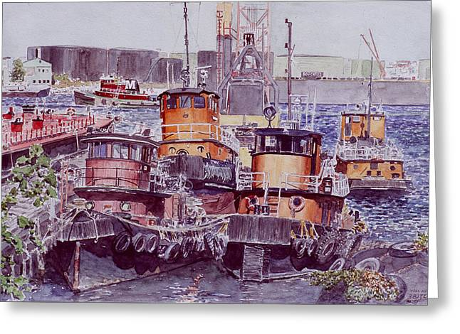 Tugboats Kill Van Kull Staten Island Greeting Card by Anthony Butera