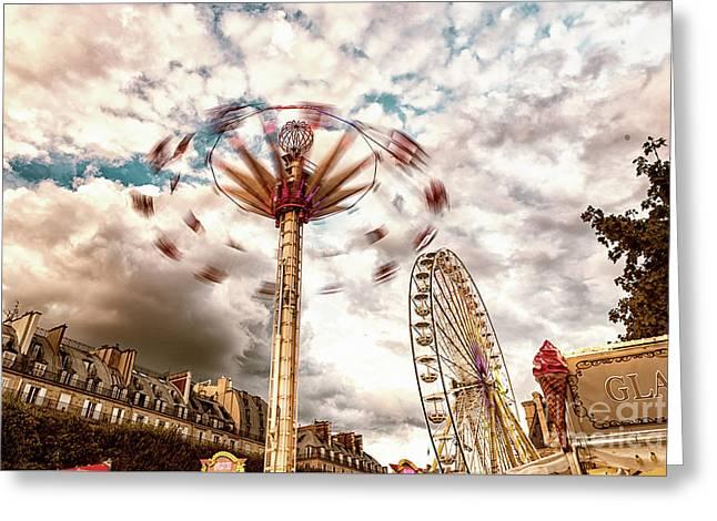 Tuilerie Garden Paris Swings Greeting Card