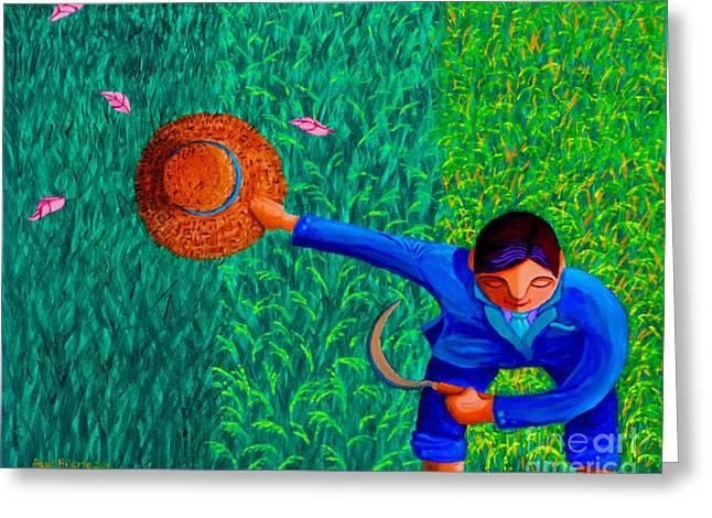 Tularan Ang Palay Greeting Card by Paul Hilario