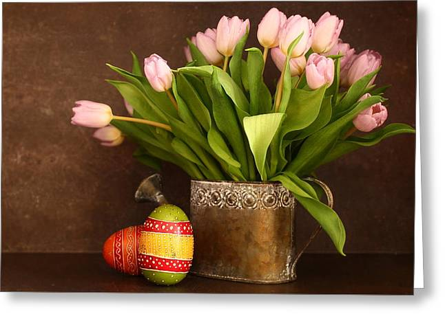 Tulip And Eggs Greeting Card by Heike Hultsch
